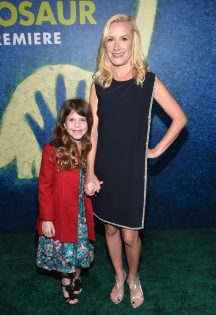 HOLLYWOOD, CA - NOVEMBER 17: Actress Angela Kinsey (R) and Isabel Ruby Lieberstein attend the World Premiere Of Disney-Pixar's THE GOOD DINOSAUR at the El Capitan Theatre on November 17, 2015 in Hollywood, California. (Photo by Alberto E. Rodriguez/Getty Images for Disney) *** Local Caption *** Angela Kinsey; Isabel Ruby Lieberstein