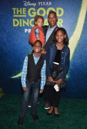 HOLLYWOOD, CA - NOVEMBER 17: Basketball player Reggie Miller and family attend the World Premiere Of Disney-Pixar's THE GOOD DINOSAUR at the El Capitan Theatre on November 17, 2015 in Hollywood, California. (Photo by Alberto E. Rodriguez/Getty Images for Disney) *** Local Caption *** Reggie Miller