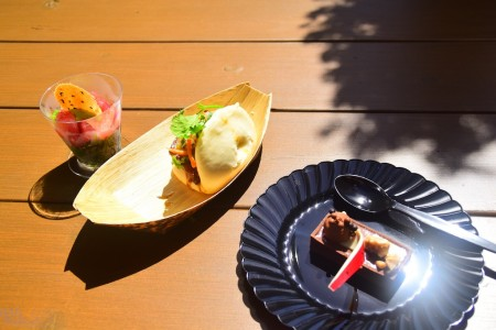 Pork Belly Bao Taco, Poke, and Chocolate Caramel Tart