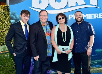 HOLLYWOOD, CA - JUNE 08: Executive producer John Lasseter (2nd L) and Nancy Lasseter with guests attend The World Premiere of Disney-Pixar's FINDING DORY on Wednesday, June 8, 2016 in Hollywood, California. (Photo by Alberto E. Rodriguez/Getty Images for Disney) *** Local Caption *** John Lasseter; Nancer Lasseter