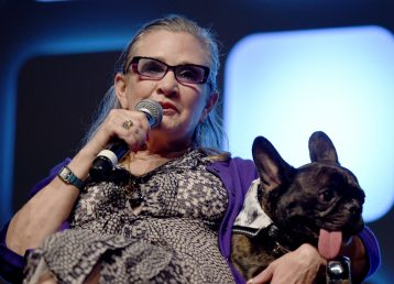 LONDON, ENGLAND - JULY 17: Carrie Fisher and dog Gary on stage during Future Directors Panel at the Star Wars Celebration 2016 at ExCel on July 17, 2016 in London, England. (Photo by Ben A. Pruchnie/Getty Images for Walt Disney Studios) *** Local Caption *** Carrie Fisher; Gary Fisher