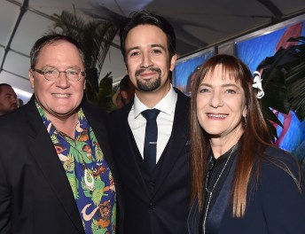 "HOLLYWOOD, CA - NOVEMBER 14: (L-R) Executive producer John Lasseter, songwriter Lin-Manuel Miranda and producer Osnat Shurer attend The World Premiere of Disney's ""MOANA"" at the El Capitan Theatre on Monday, November 14, 2016 in Hollywood, CA. (Photo by Alberto E. Rodriguez/Getty Images for Disney) *** Local Caption *** John Lasseter; Lin-Manuel Miranda; Osnat Shurer"
