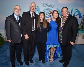 """HOLLYWOOD, CA - NOVEMBER 14: (L-R) Directors Ron Clements and John Musker, producer Osnat Shurer, actress Auli'i Cravalho and executive producer John Lasseter attend The World Premiere of Disney's """"MOANA"""" at the El Capitan Theatre on Monday, November 14, 2016 in Hollywood, CA. (Photo by Alberto E. Rodriguez/Getty Images for Disney) *** Local Caption *** Ron Clements; John Musker; Osnat Shurer; Auli'i Cravalho; John Lasseter"""