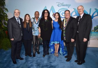 "HOLLYWOOD, CA - NOVEMBER 14: (L-R) Co-director Ron Clements, Producer Osnat Shurer, actors Temuera Morrison, Rachel House, Auli'i Cravalho, Executive producer John Lasseter and co-director John Musker attend The World Premiere of Disney's ""MOANA"" at the El Capitan Theatre on Monday, November 14, 2016 in Hollywood, CA. (Photo by Alberto E. Rodriguez/Getty Images for Disney) *** Local Caption *** Ron Clements; Osnat Shurer; Temuera Morrison; Rachel House; Auli'i Cravalho; John Lasseter; John Musker"