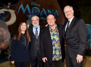"""HOLLYWOOD, CA - NOVEMBER 14: (L-R) Producer Osnat Shurer, director Ron Clements, executive producer John Lasseter, and director John Musker attend The World Premiere of Disney's """"MOANA"""" at the El Capitan Theatre on Monday, November 14, 2016 in Hollywood, CA. (Photo by Alberto E. Rodriguez/Getty Images for Disney) *** Local Caption *** John Musker; Ron Clements; Osnat Shurer; John Lasseter"""