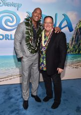 "HOLLYWOOD, CA - NOVEMBER 14: Actor Dwayne Johnson (L) and executive producer John Lasseter attend The World Premiere of Disney's ""MOANA"" at the El Capitan Theatre on Monday, November 14, 2016 in Hollywood, CA. (Photo by Alberto E. Rodriguez/Getty Images for Disney) *** Local Caption *** Dwayne Johnson; John Lasseter"