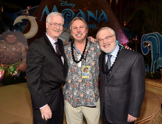 """HOLLYWOOD, CA - NOVEMBER 14: (L-R) Director John Musker, composer Mark Mancina, and director Ron Clements attend The World Premiere of Disney's """"MOANA"""" at the El Capitan Theatre on Monday, November 14, 2016 in Hollywood, CA. (Photo by Alberto E. Rodriguez/Getty Images for Disney) *** Local Caption *** John Musker; Mark Mancina; Ron Clements"""