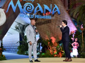 """HOLLYWOOD, CA - NOVEMBER 14: Actor Dwayne Johnson (L) and songwriter Lin-Manuel Miranda perform onstage at The World Premiere of Disney's """"MOANA"""" at the El Capitan Theatre on Monday, November 14, 2016 in Hollywood, CA. (Photo by Alberto E. Rodriguez/Getty Images for Disney) *** Local Caption *** Lin-Manuel Miranda; Dwayne Johnson"""