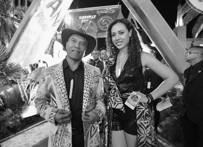 """HOLLYWOOD, CA - NOVEMBER 14: (EDITORS NOTE: Image has been shot in black and white. Color version not available.) Musicians Opetaia Foa'i (L) and Olivia Foa'i of Te Vaka attend The World Premiere of Disney's """"MOANA"""" at the El Capitan Theatre on Monday, November 14, 2016 in Hollywood, CA. (Photo by Charley Gallay/Getty Images for Disney) *** Local Caption *** Opetaia Foa'i; Olivia Foa'i"""