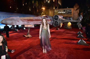 "HOLLYWOOD, CA - DECEMBER 10: Actress Katie Leclerc attends The World Premiere of Lucasfilm's highly anticipated, first-ever, standalone Star Wars adventure, ""Rogue One: A Star Wars Story"" at the Pantages Theatre on December 10, 2016 in Hollywood, California. (Photo by Marc Flores/Getty Images for Disney) *** Local Caption *** Katie Leclerc"