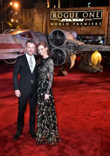 "HOLLYWOOD, CA - DECEMBER 10: Comedian Chris Hardwick (L) and model Lydia Hearst attend The World Premiere of Lucasfilm's highly anticipated, first-ever, standalone Star Wars adventure, ""Rogue One: A Star Wars Story"" at the Pantages Theatre on December 10, 2016 in Hollywood, California. (Photo by Marc Flores/Getty Images for Disney) *** Local Caption *** Chris Hardwick; Lydia Hearst"