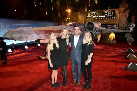 "HOLLYWOOD, CA - DECEMBER 10: Mayor Eric Garcetti (3rd L) and family attend The World Premiere of Lucasfilm's highly anticipated, first-ever, standalone Star Wars adventure, ""Rogue One: A Star Wars Story"" at the Pantages Theatre on December 10, 2016 in Hollywood, California. (Photo by Marc Flores/Getty Images for Disney) *** Local Caption *** Eric Garcetti"