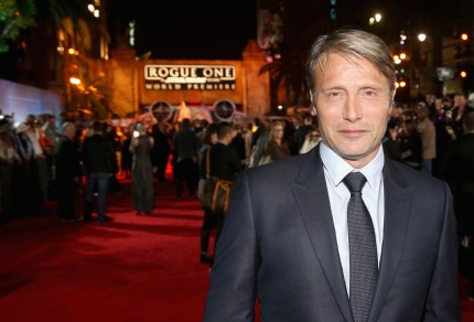 "HOLLYWOOD, CA - DECEMBER 10: Actor Mads Mikkelsen attends The World Premiere of Lucasfilm's highly anticipated, first-ever, standalone Star Wars adventure, ""Rogue One: A Star Wars Story"" at the Pantages Theatre on December 10, 2016 in Hollywood, California. (Photo by Jesse Grant/Getty Images for Disney) *** Local Caption *** Mads Mikkelsen"
