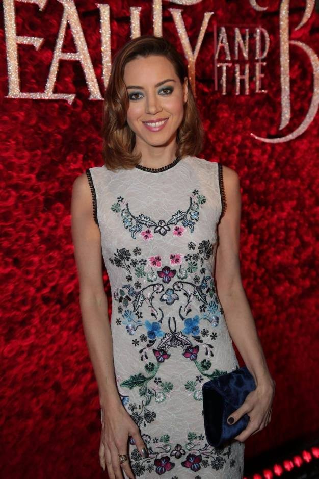 """Aubrey Plaza arrives for the world premiere of Disney's live-action """"Beauty and the Beast"""" at the El Capitan Theatre in Hollywood as the cast and filmmakers continue their worldwide publicity tour. (Photo: Alex J. Berliner/ABImages)"""