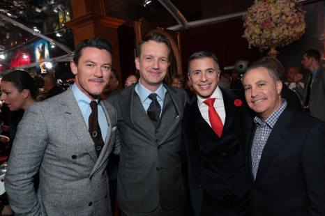 """Luke Evans, Shawn Bailey, Ricky Strauss and Alan Bergman arrive for the world premiere of Disney's live-action """"Beauty and the Beast"""" at the El Capitan Theatre in Hollywood as the cast and filmmakers continue their worldwide publicity tour. (Photo: Alex J. Berliner/ABImages)"""