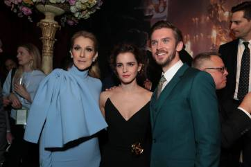 """Celine Dion, Emma Watson and Dan Stevens arrive for the world premiere of Disney's live-action """"Beauty and the Beast"""" at the El Capitan Theatre in Hollywood as the cast and filmmakers continue their worldwide publicity tour. (Photo: Alex J. Berliner/ABImages)"""