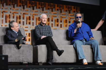 ORLANDO, FL - APRIL 13: Warwick Davis, Anthony Daniels and Billy Dee Williams attend the 40 YEARS OF STAR WARS PANEL during the 2017 STAR WARS CELEBRATION at Orange County Convention Center on April 13, 2017 in Orlando, Florida. (Photo by Gerardo Mora/Getty Images for Disney) *** Local Caption *** Warwick Davis, Anthony Daniels;Billy Dee Williams