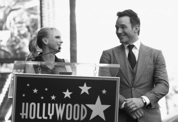 HOLLYWOOD, CA - APRIL 21: (EDITOR'S NOTE: Image has been shot in black and white.) Actors Anna Faris (L) and Chris Pratt at the Chris Pratt Walk Of Fame Star Ceremony on April 21, 2017 in Hollywood, California. (Photo by Jesse Grant/Getty Images for Disney) *** Local Caption *** Anna Faris; Chris Pratt