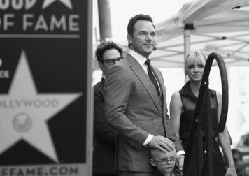 HOLLYWOOD, CA - APRIL 21: (EDITOR'S NOTE: Image has been shot in black and white.) (L-R) Writer/director James Gunn, actor Chris Pratt, Jack Pratt and actor Anna Faris at the Chris Pratt Walk Of Fame Star Ceremony on April 21, 2017 in Hollywood, California. (Photo by Jesse Grant/Getty Images for Disney) *** Local Caption *** James Gunn; Chris Pratt; Jack Pratt; Anna Faris