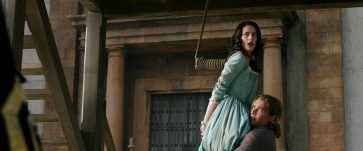 """""""PIRATES OF THE CARIBBEAN: DEAD MEN TELL NO TALES""""..The villainous Captain Salazar (Javier Bardem) pursues Jack Sparrow (Johnny Depp) as he searches for the trident used by Poseidon..Pictured L to R: Carina Smyth (Kaya Scodelario) and Henry Turner (Brenton Thwaites)..Ph: Film Frame..© Disney Enterprises, Inc. All Rights Reserved."""