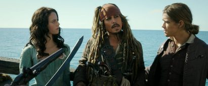 """""""PIRATES OF THE CARIBBEAN: DEAD MEN TELL NO TALES""""..The villainous Captain Salazar (Javier Bardem) pursues Jack Sparrow (Johnny Depp) as he searches for the trident used by Poseidon..Pictured L to R: Carina Smyth (Kaya Scodelario), Captain Jack Sparrow (Johnny Depp) and Henry Turner (Brenton Thwaites)..Ph: Film Frame..© Disney Enterprises, Inc. All Rights Reserved."""