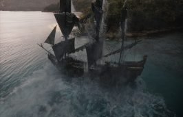 """""""PIRATES OF THE CARIBBEAN: DEAD MEN TELL NO TALES""""..The villainous Captain Salazar (Javier Bardem) pursues Jack Sparrow (Johnny Depp) as he searches for the trident used by Poseidon..Pictured: The Black Pearl..Ph: Film Frame..© Disney Enterprises, Inc. All Rights Reserved."""