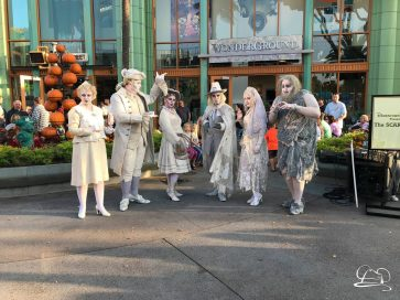 SCAREolers singing in front of WonderGround Gallery in Downtown Disney during the 2017 Halloween Time at the Disneyland Resort.