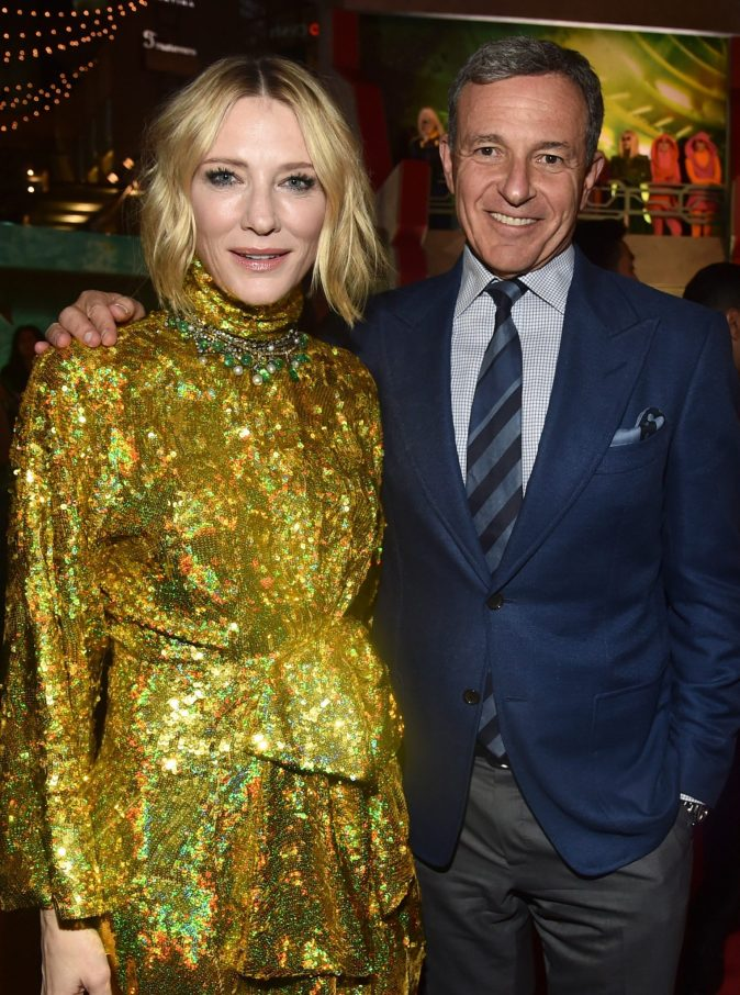 """HOLLYWOOD, CA - OCTOBER 10: Actor Cate Blanchett (L) and The Walt Disney Company Chairman and CEO Bob Iger at The World Premiere of Marvel Studios' """"Thor: Ragnarok"""" at the El Capitan Theatre on October 10, 2017 in Hollywood, California. (Photo by Alberto E. Rodriguez/Getty Images for Disney) *** Local Caption *** Cate Blanchett; Bob Iger"""