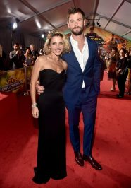 """HOLLYWOOD, CA - OCTOBER 10: Elsa Pataky and actor Chris Hemsworth at The World Premiere of Marvel Studios' """"Thor: Ragnarok"""" at the El Capitan Theatre on October 10, 2017 in Hollywood, California. (Photo by Alberto E. Rodriguez/Getty Images for Disney) *** Local Caption *** Elsa Pataky; Chris Hemsworth"""