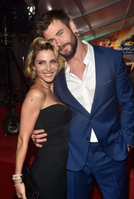 """HOLLYWOOD, CA - OCTOBER 10: Elsa Pataky and actor Chris Hemsworth at The World Premiere of Marvel Studios' """"Thor: Ragnarok"""" at the El Capitan Theatre on October 10, 2"""