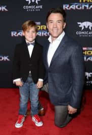 """HOLLYWOOD, CA - OCTOBER 10: Terry Notary (R) and son at The World Premiere of Marvel Studios' """"Thor: Ragnarok"""" at the El Capitan Theatre on October 10, 2017 in Hollywood, California. (Photo by Rich Polk/Getty Images for Disney) *** Local Caption *** Terry Notary"""