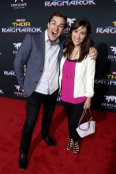 """HOLLYWOOD, CA - OCTOBER 10: Matthew Patrick (L) and Stephanie Patrick at The World Premiere of Marvel Studios' """"Thor: Ragnarok"""" at the El Capitan Theatre on October 10, 2017 in Hollywood, California. (Photo by Rich Polk/Getty Images for Disney) *** Local Caption *** Matthew Patrick; Stephanie Patrick"""