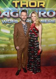 """HOLLYWOOD, CA - OCTOBER 10: Actors Chris Hardwick (L) and Lydia Hearst at The World Premiere of Marvel Studios' """"Thor: Ragnarok"""" at the El Capitan Theatre on October 10, 2017 in Hollywood, California. (Photo by Alberto E. Rodriguez/Getty Images for Disney) *** Local Caption *** Chris Hardwick; Lydia Hearst"""