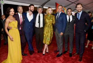 """HOLLYWOOD, CA - OCTOBER 10: (L-R) Actor Tessa Thompson, Director Taika Waititi, Actor Chris Hemsworth, Chairman, The Walt Disney Studios, Alan Horn, Actor Cate Blanchett, The Walt Disney Company Chairman and CEO, Bob Iger, Actors Mark Ruffalo and Tom Hiddleston at The World Premiere of Marvel Studios' """"Thor: Ragnarok"""" at the El Capitan Theatre on October 10, 2017 in Hollywood, California. (Photo by Alberto E. Rodriguez/Getty Images for Disney) *** Local Caption *** Tessa Thompson; Taika Waititi; Chris Hemsworth; Alan Horn; Cate Blanchett; Bob Iger; Mark Ruffalo; Tom Hiddleston"""