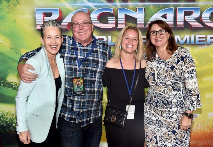 """HOLLYWOOD, CA - OCTOBER 10: (2nd L-R) Writer Craig Kyle, guest and Executive producer Victoria Alonso at The World Premiere of Marvel Studios' """"Thor: Ragnarok"""" at the El Capitan Theatre on October 10, 2017 in Hollywood, California. (Photo by Alberto E. Rodriguez/Getty Images for Disney) *** Local Caption *** Craig Kyle; Victoria Alonso"""