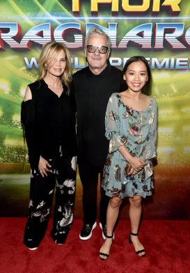 """HOLLYWOOD, CA - OCTOBER 10: Composer Mark Mothersbaugh (C) and guests at The World Premiere of Marvel Studios' """"Thor: Ragnarok"""" at the El Capitan Theatre on October 10, 2017 in Hollywood, California. (Photo by Alberto E. Rodriguez/Getty Images for Disney) *** Local Caption *** Mark Mothersbaugh"""