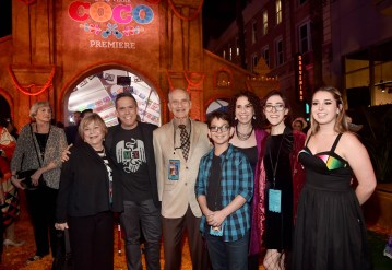 """HOLLYWOOD, CA - NOVEMBER 08: Director Lee Unkrich (2nd L) with guests and family at the U.S. Premiere of Disney-Pixarís """"Coco"""" at the El Capitan Theatre on November 8, 2017, in Hollywood, California. (Photo by Alberto E. Rodriguez/Getty Images for Disney) *** Local Caption *** Lee Unkrich"""