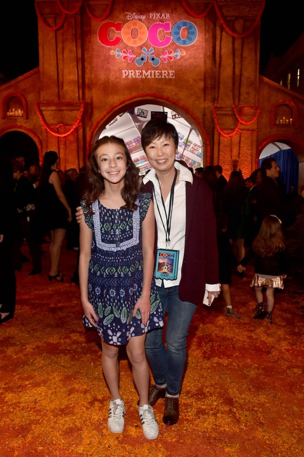 """HOLLYWOOD, CA - NOVEMBER 08: Actor Aubrey Anderson-Emmons (L) and Amy Anderson at the U.S. Premiere of Disney-Pixarís """"Coco"""" at the El Capitan Theatre on November 8, 2017, in Hollywood, California. (Photo by Alberto E. Rodriguez/Getty Images for Disney) *** Local Caption *** Aubrey Anderson-Emmons; Amy Anderson"""