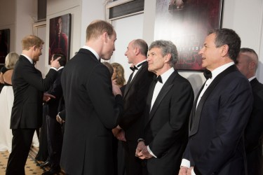 LONDON, UK DECEMBER 12: HRH Duke of Cambridge and HRH Prince Harry meet the cast, filmmakers and The Walt Disney Company executives at the European Premiere of Star Wars: The Last Jedi at the Royal Albert Hall in London, UK on Tuesday 12th December 2017.