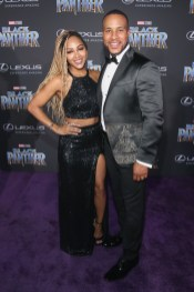 HOLLYWOOD, CA - JANUARY 29: Actor Meagan Good (L) and producer DeVon Franklin at the Los Angeles World Premiere of Marvel Studios' BLACK PANTHER at Dolby Theatre on January 29, 2018 in Hollywood, California. (Photo by Jesse Grant/Getty Images for Disney) *** Local Caption *** Meagan Good; DeVon Franklin