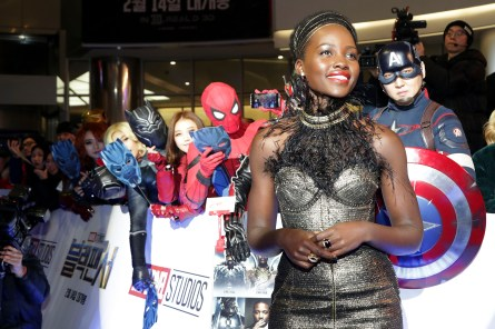 SEOUL, SOUTH KOREA - FEBRUARY 05: Actor Lupita Nyong'o arrives at the red carpet of the Seoul premiere of 'Black Panther' on February 5, 2018 in Seoul, South Korea. (Photo by Han Myung-Gu/Getty Images for Disney) *** Local Caption *** Lupita Nyong'o
