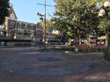 Disneyland Town Square Bricks With Walls Down in Spring-5