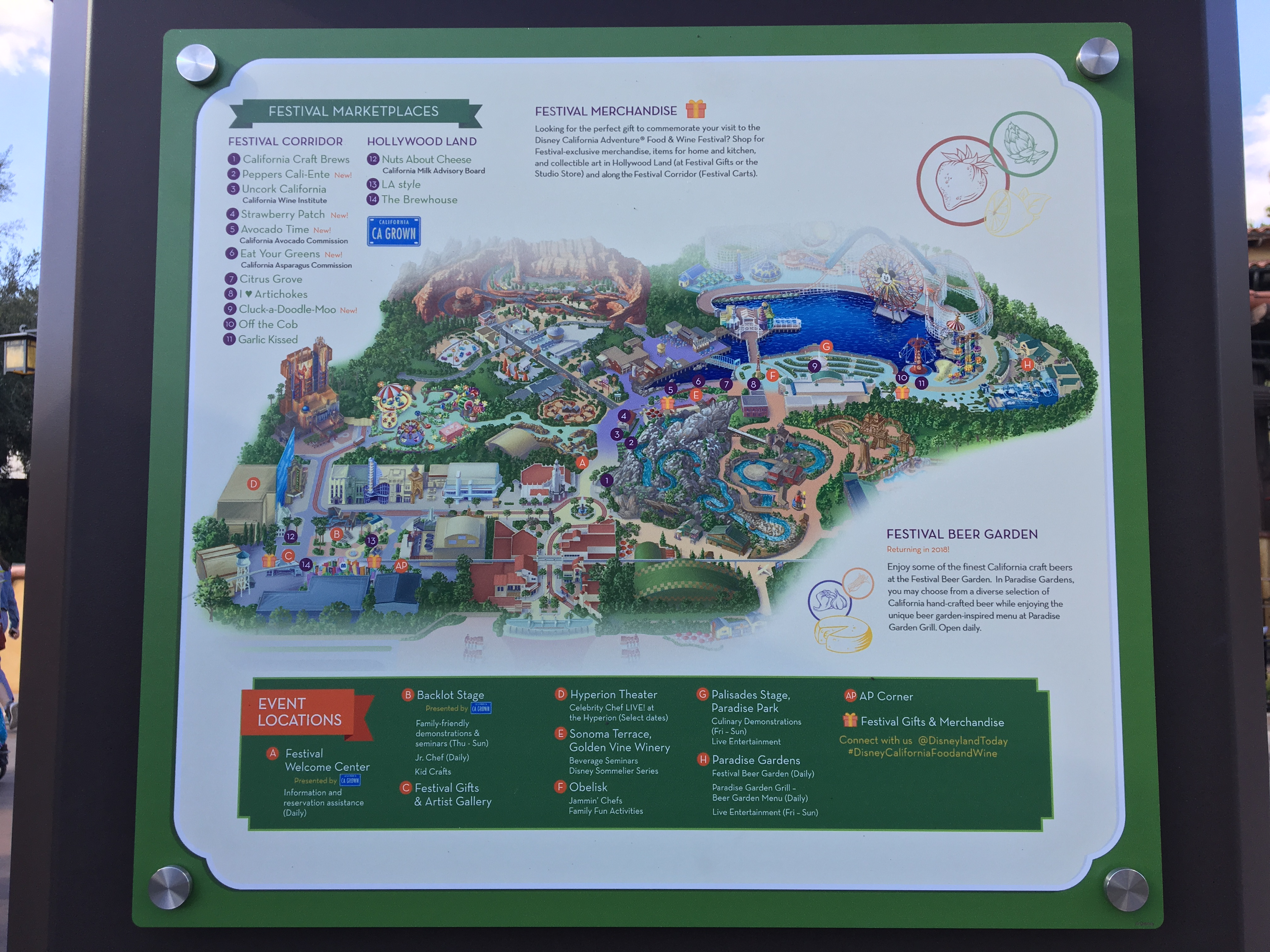 Map Of California Disney.2018 Disney California Adventure Food And Wine Festival Map Daps Magic