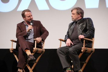 """AUSTIN, TX - MARCH 12: Writer/Director Rian Johnson and actor Mark Hamill attend the Star Wars: The Last Jedi """"The Director and The Jedi"""" SXSW Documentary Premiere at Paramount Theatre on March 12, 2018 in Austin, Texas. (Photo by Jesse Grant/Getty Images for Disney) *** Local Caption *** Rian Johnson;Mark Hamill"""