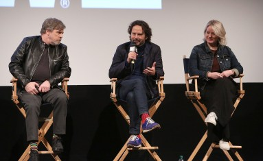 """AUSTIN, TX - MARCH 12: (L-R) Actor Mark Hamill, producer Ram Bergman and producer Tylie Cox attend the Star Wars: The Last Jedi """"The Director and The Jedi"""" SXSW Documentary Premiere at Paramount Theatre on March 12, 2018 in Austin, Texas. (Photo by Jesse Grant/Getty Images for Disney) *** Local Caption *** Mark Hamill;Ram Bergman;Tylie Cox"""