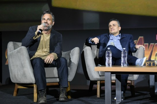 Mark Ruffalo (Bruce Banner/Hulk), Joe Russo (Director) Avengers: Infinity War fan event in Mexico City.