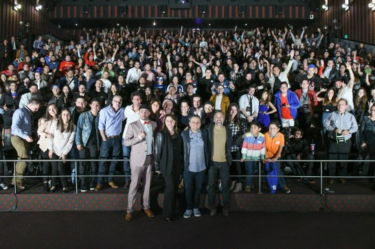 Victoria Alonso (Executive Producer), Joe Russo (Director), and Mark Ruffalo (Bruce Banner/Hulk) attend the Avengers: Infinity War fan event in Mexico City.
