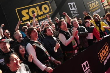 "Fans get excited for the world premiere of ""Solo: A Star Wars Story"" in Hollywood on May 10, 2018. (Photo: Alex J. Berliner/ABImages)"