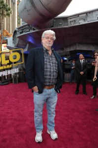 "George Lucas attends the world premiere of ""Solo: A Star Wars Story"" in Hollywood on May 10, 2018. (Photo: Alex J. Berliner/ABImages)"