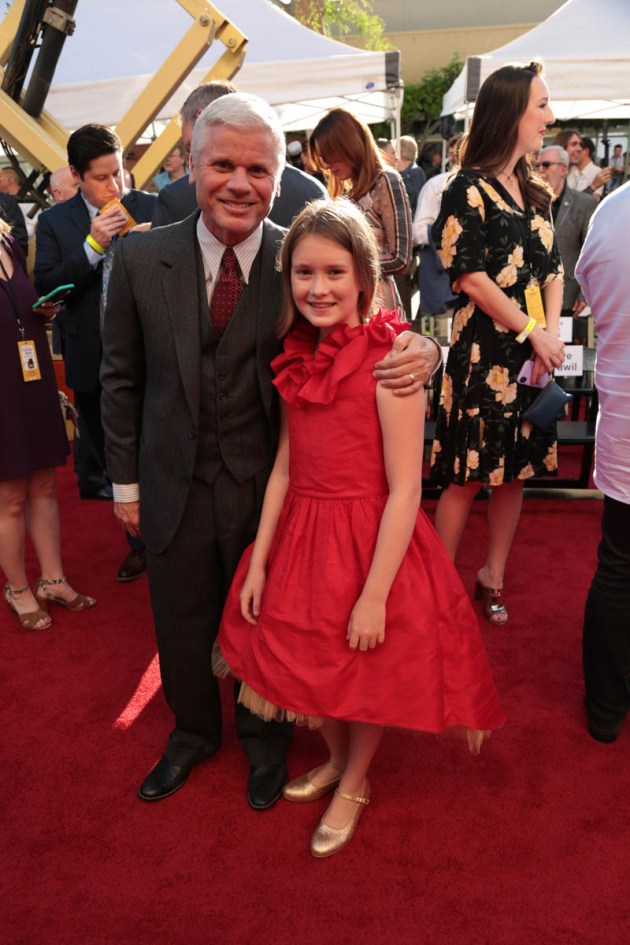 """Producer Brigham Taylor and Bronte Carmichael attend the dedication and re-naming of the historic Orchestra Stage, now the Sherman Brothers Stage A, on the Disney Burbank lot prior to the world premiere of Disney's """"Christopher Robin"""" at the studio's Main Theater, on July 30, 2018 in Burbank, CA (Photo: Alex J. Berliner/ABImages)"""
